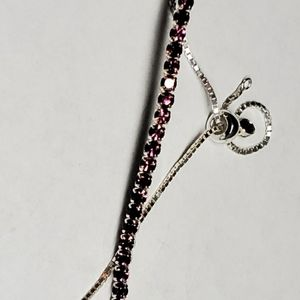Sterling Silver and Ruby Bolo Bracelet